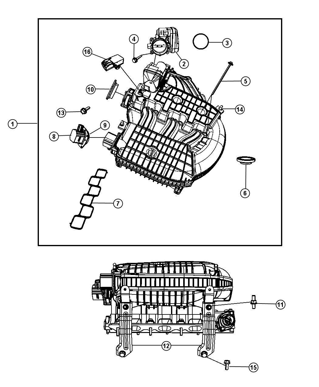2009 Dodge Grand Caravan Actuator  Intake Short Running