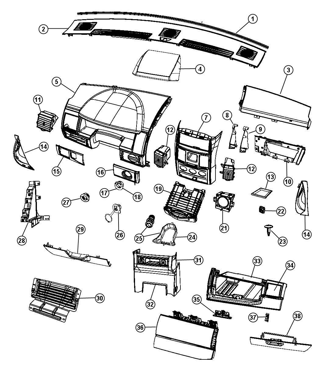 2008 dodge grand caravan bezel  instrument panel   ds