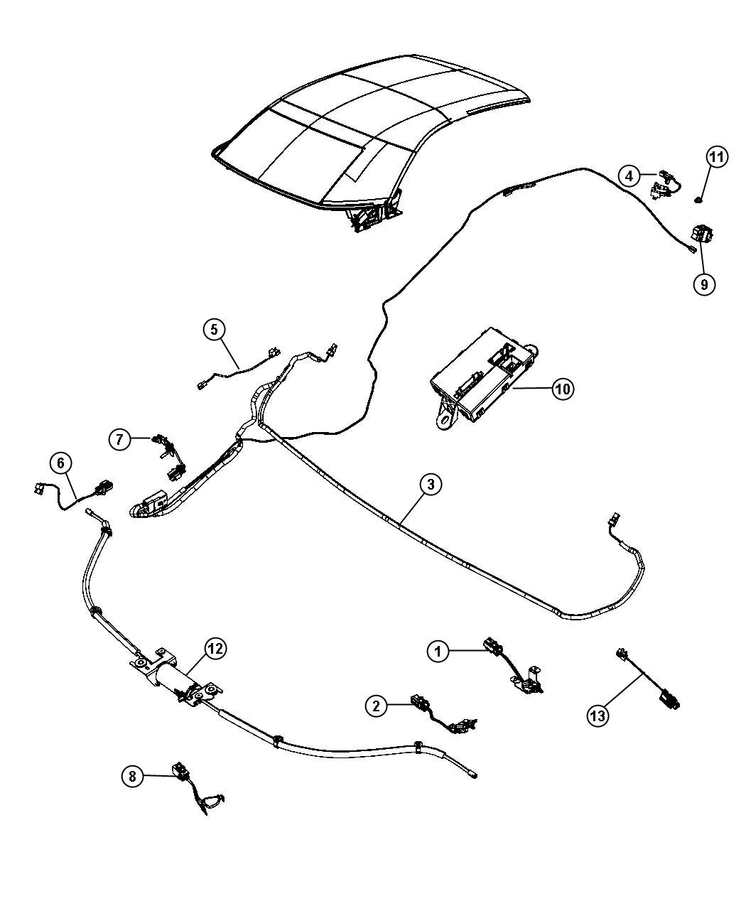 2009 chrysler sebring module  convertible top control   power convertible top