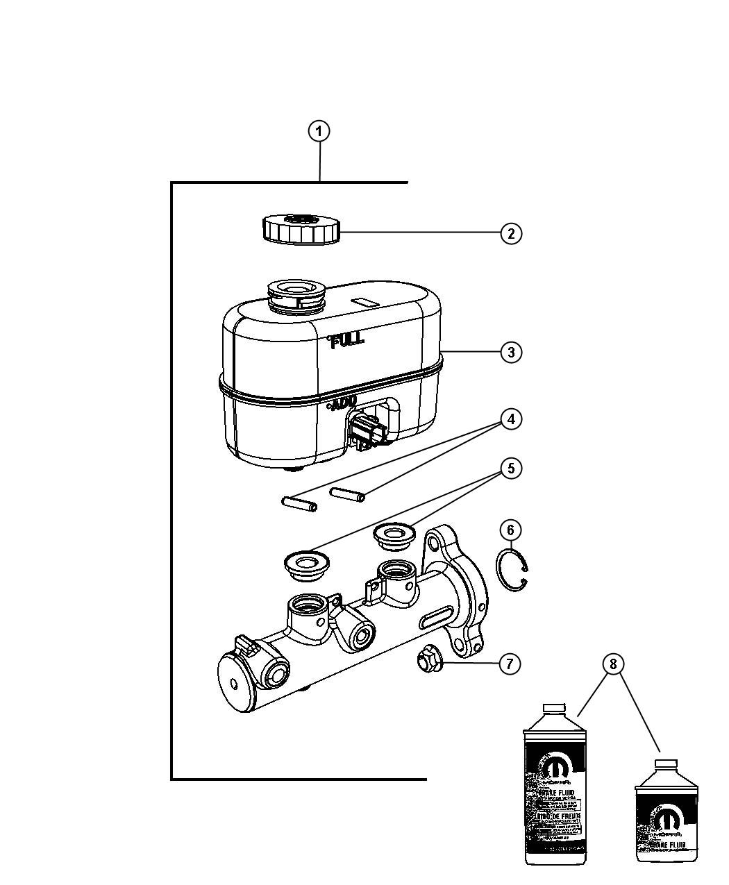 2009 Dodge Ram 3500 Reservoir  Brake Master Cylinder