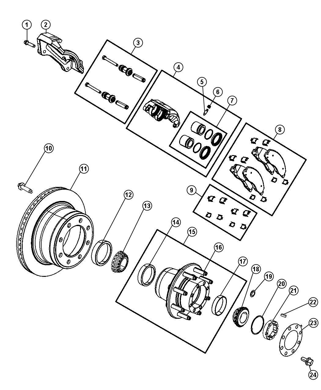 Dodge Ram 3500 Caliper Assembly  Disc Brake  Rear