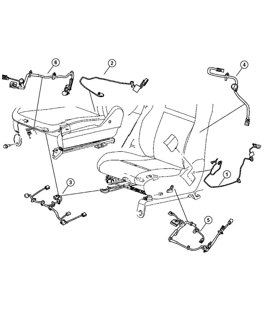 Jeep Grand Cherokee Wiring  Seat  Right  Manual  Power Track  Pretensioner  Trim   Cloth