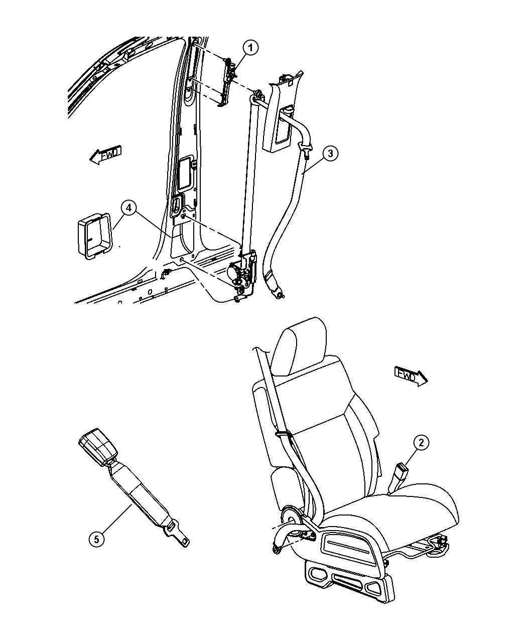 2010 Dodge Nitro Shield  Seat Belt Retractor  Right  Rear  Belts
