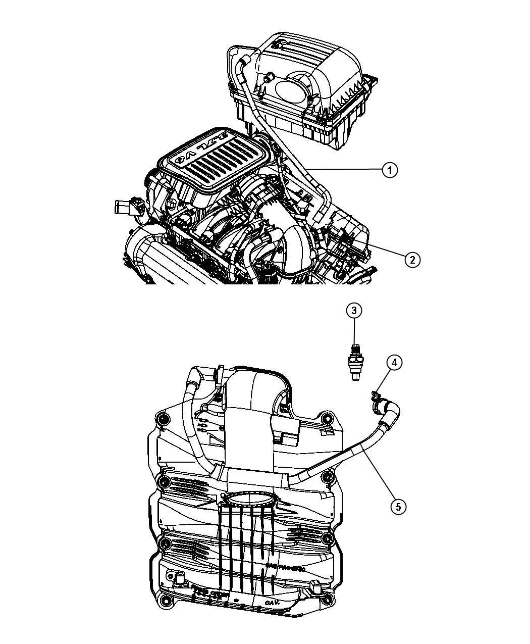 2010 Dodge NITRO Hose. Make up air. Crankcase, ekg ...