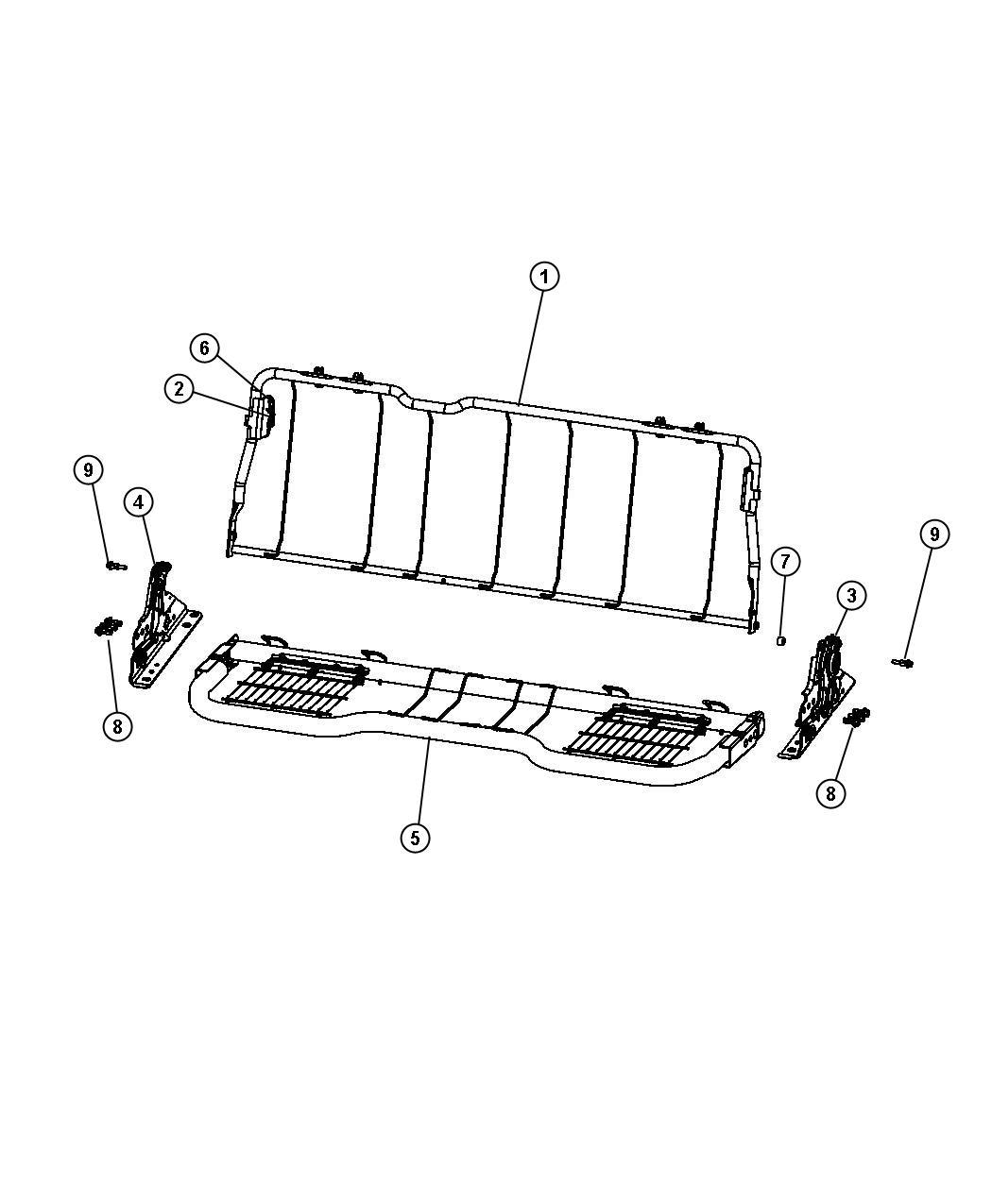 Dodge Ram 1500 Latch Seat Back Left Rear Folding Seat
