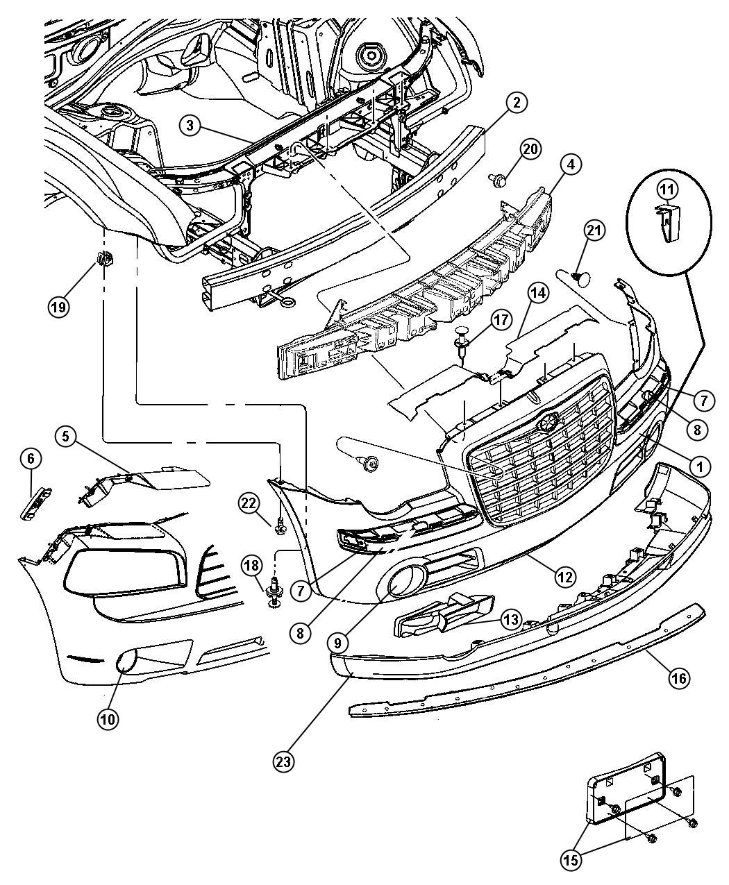 2006 Chrysler 300 Engine Diagram: 2006 Chrysler 300 Panel. Left. Closeout. Grille, Headlamp