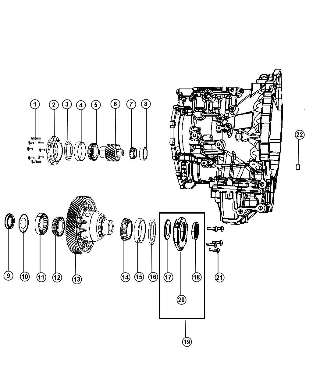 Diagram Output Pinion and Dfferential,[6-Speed Automatic 62TE Transmission]. for your 2018 Chrysler Pacifica Touring Plus