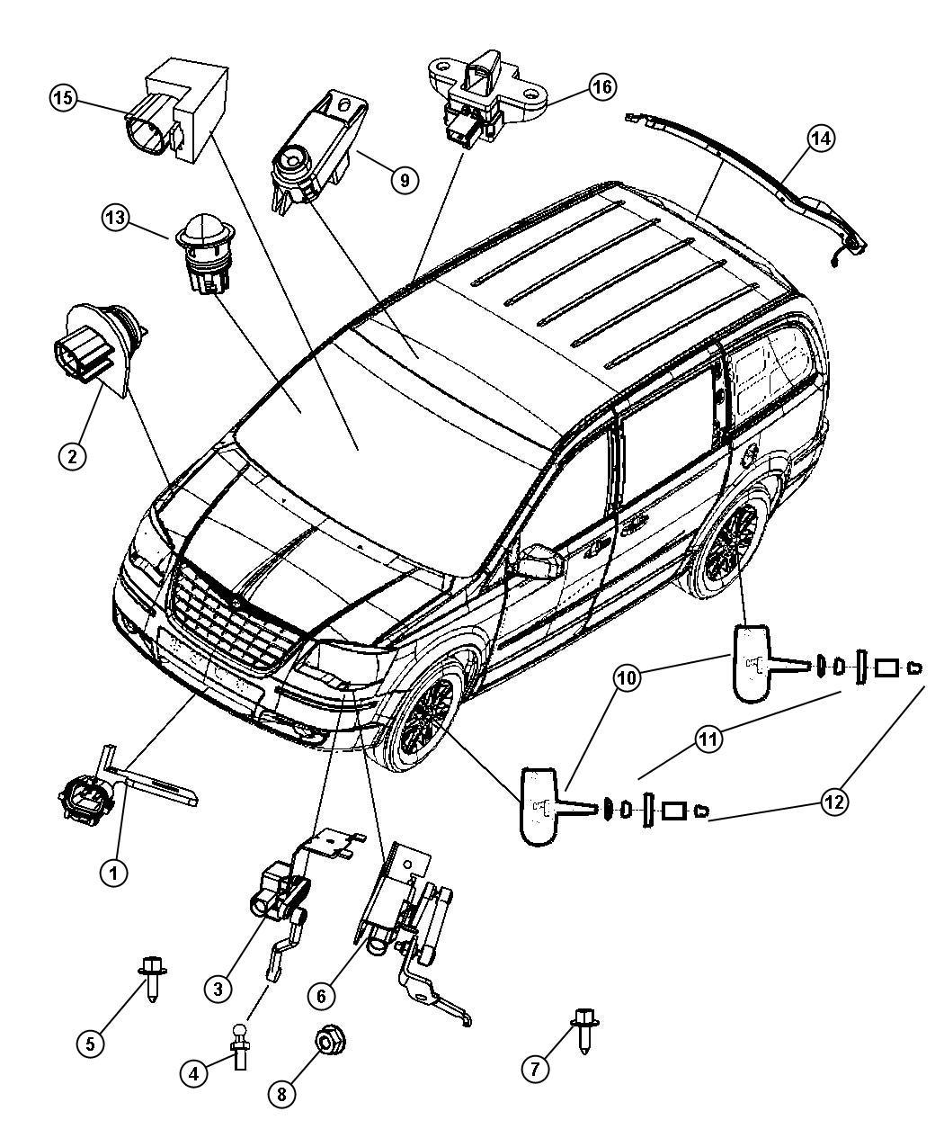 2010 Dodge Grand Caravan Sensor  Pinch  Left  Sensors