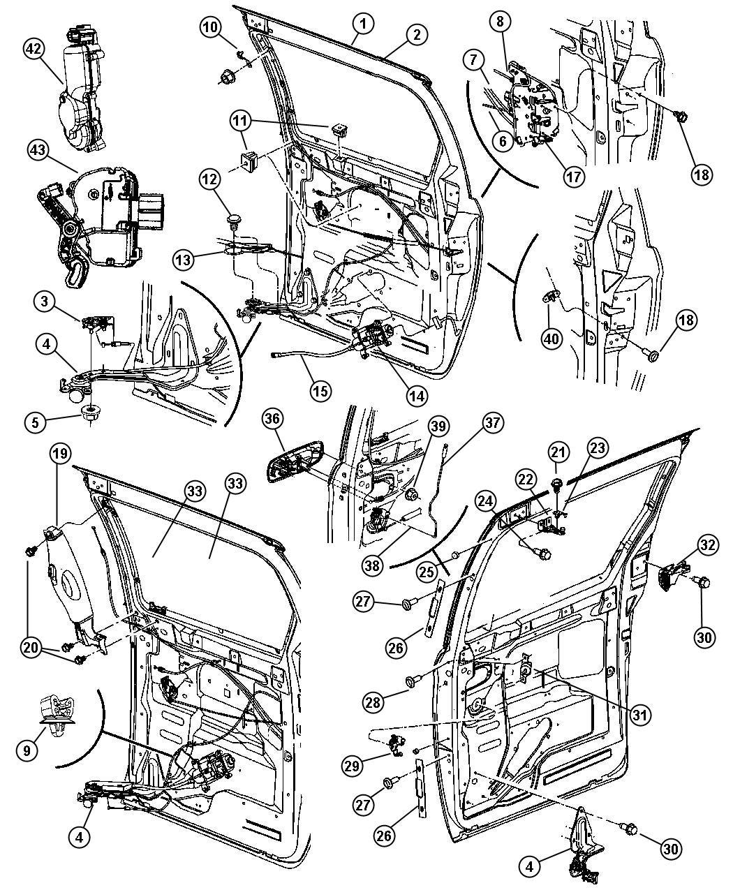 2006 Dodge Grand Caravan Motor  Sliding Door  Power  Glass