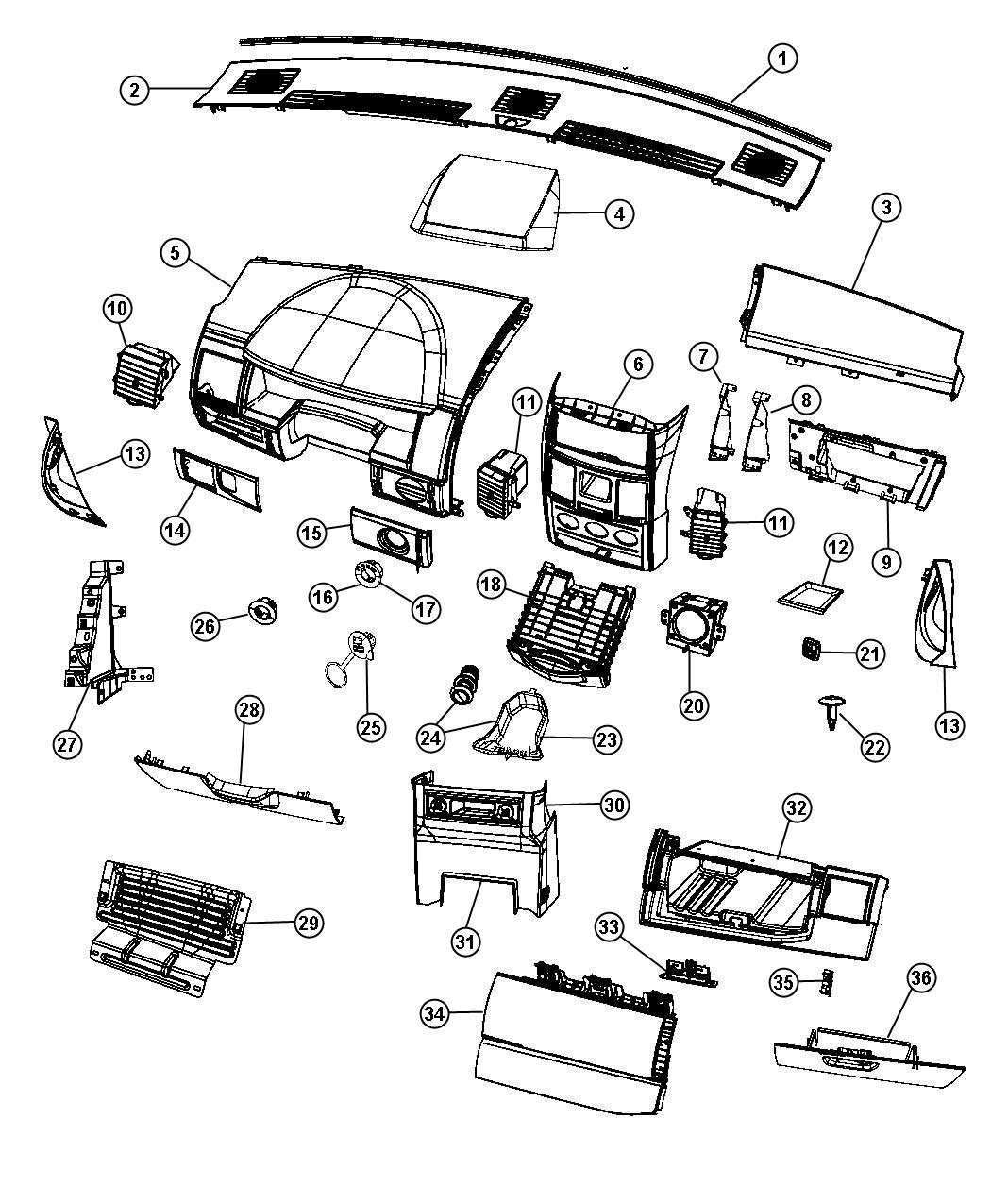 2010 Dodge Grand Caravan Bin  Glove Box  Instrument Panel