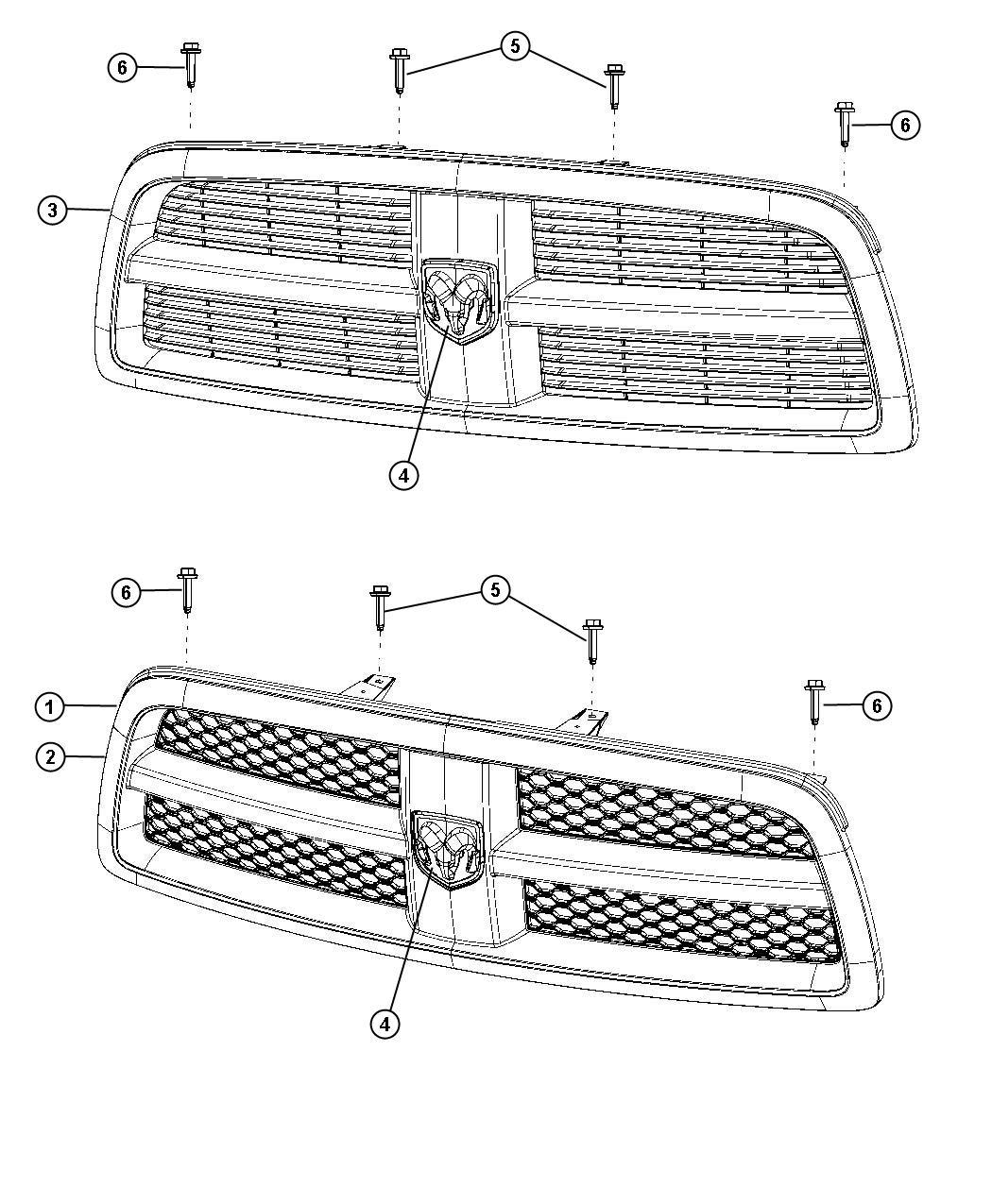 2012 dodge ram 1500 grille  radiator  color