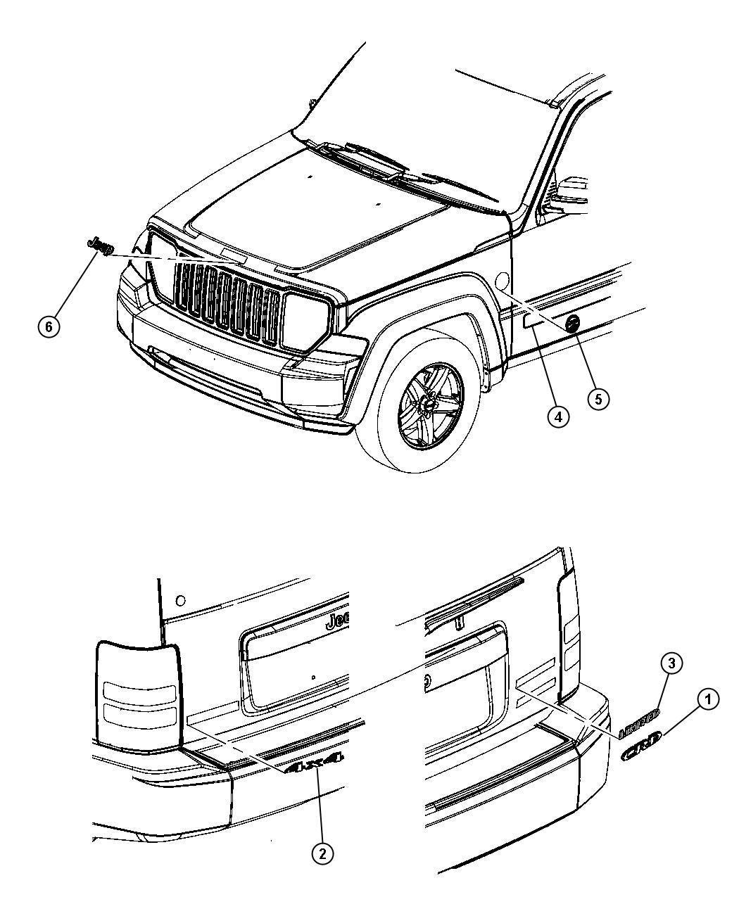 Jeep Liberty Renegade Hood Diagram Wiring Diagrams For Dummies 2003 Engine 2011 Decal Nameplate Right Left Sport