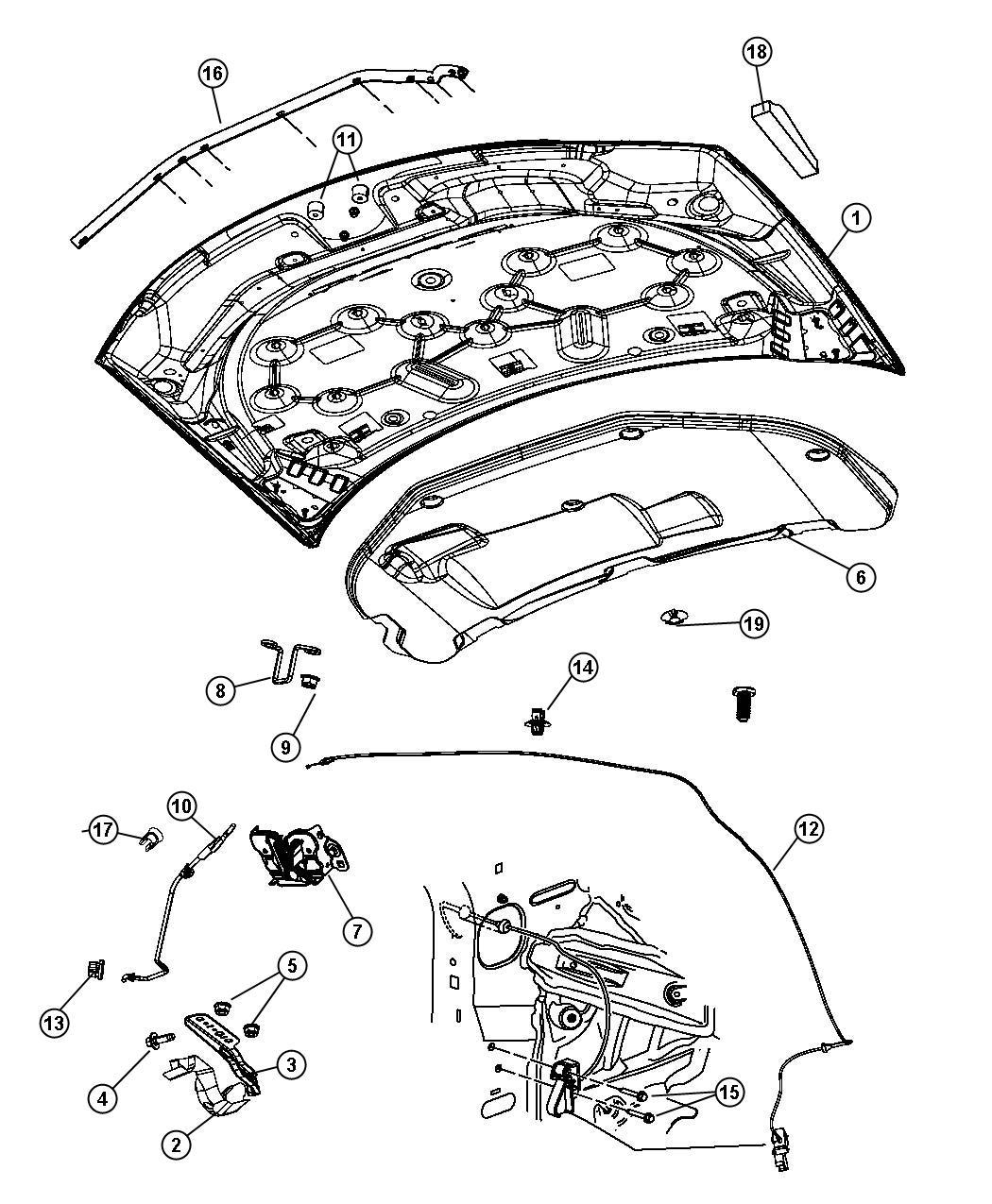 2009 Chrysler Sebring Hood Interior Glass Body 05008923ak Mopar Parts Inc Myrtle Beach Sc