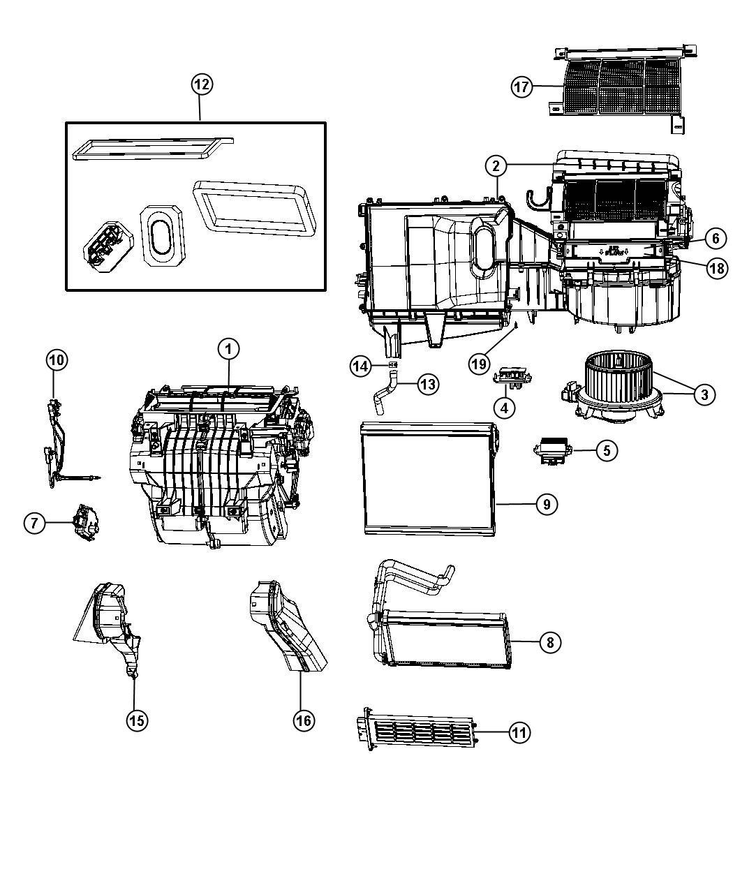 2013 dodge avenger actuator  blend door  a  c and heater  instrument  module  panel