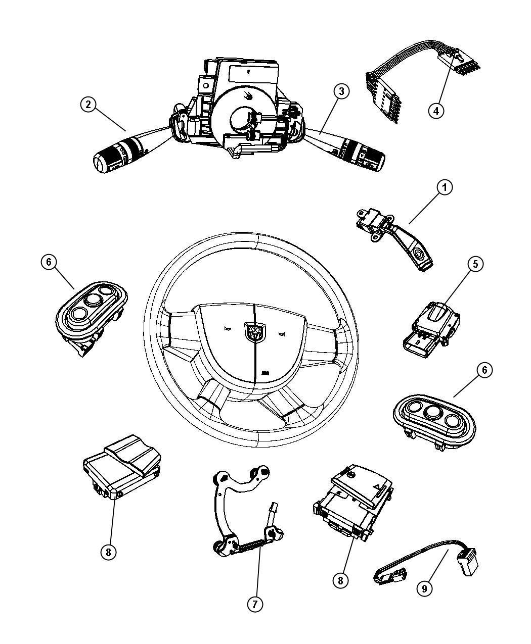 2007 Dodge NITRO Switch. Horn. [scg]. Trim: (*o0.). Wheel