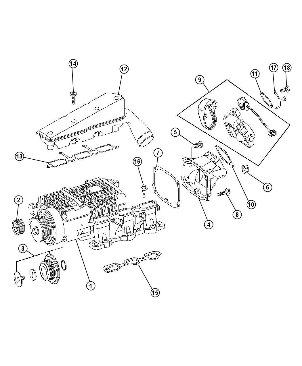 2005 chrysler crossfire tensioner  supercharger drive belt