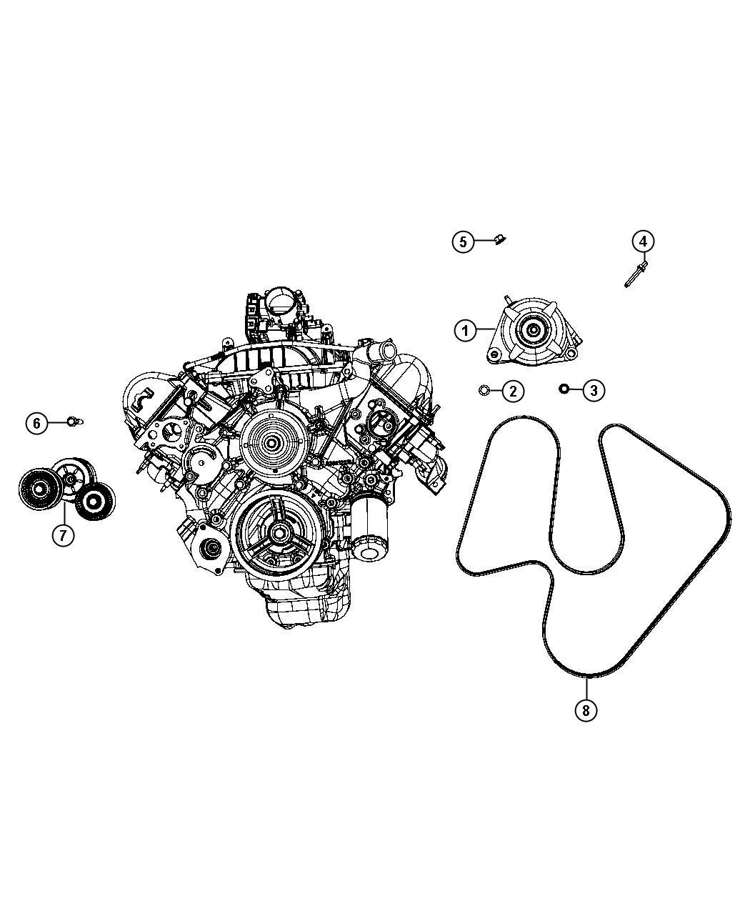Dodge Avenger Tensioner  Belt   3 7l V6 Engine   Pulleys  Alternator  Related