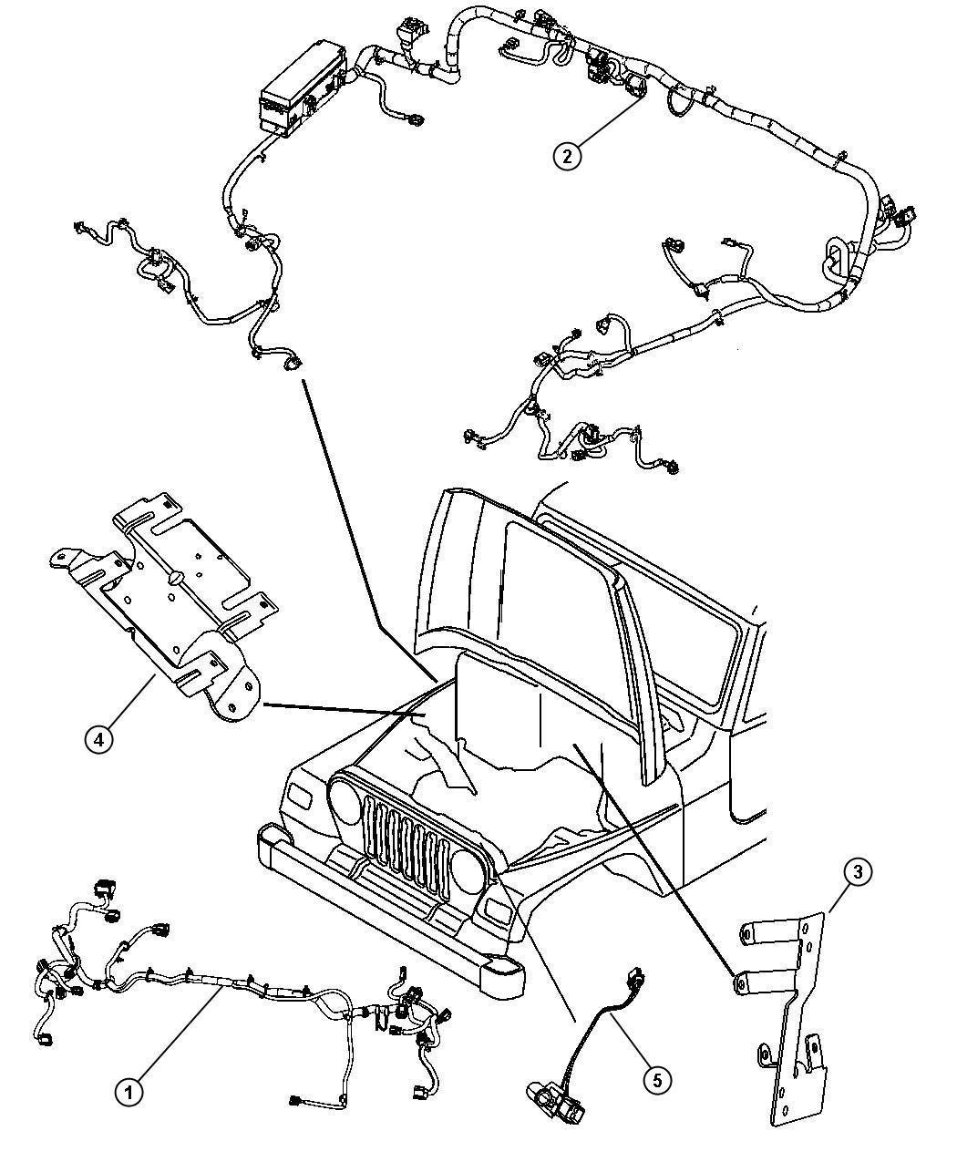 jeep wrangler wiring  dash   trailer tow group   headlamp