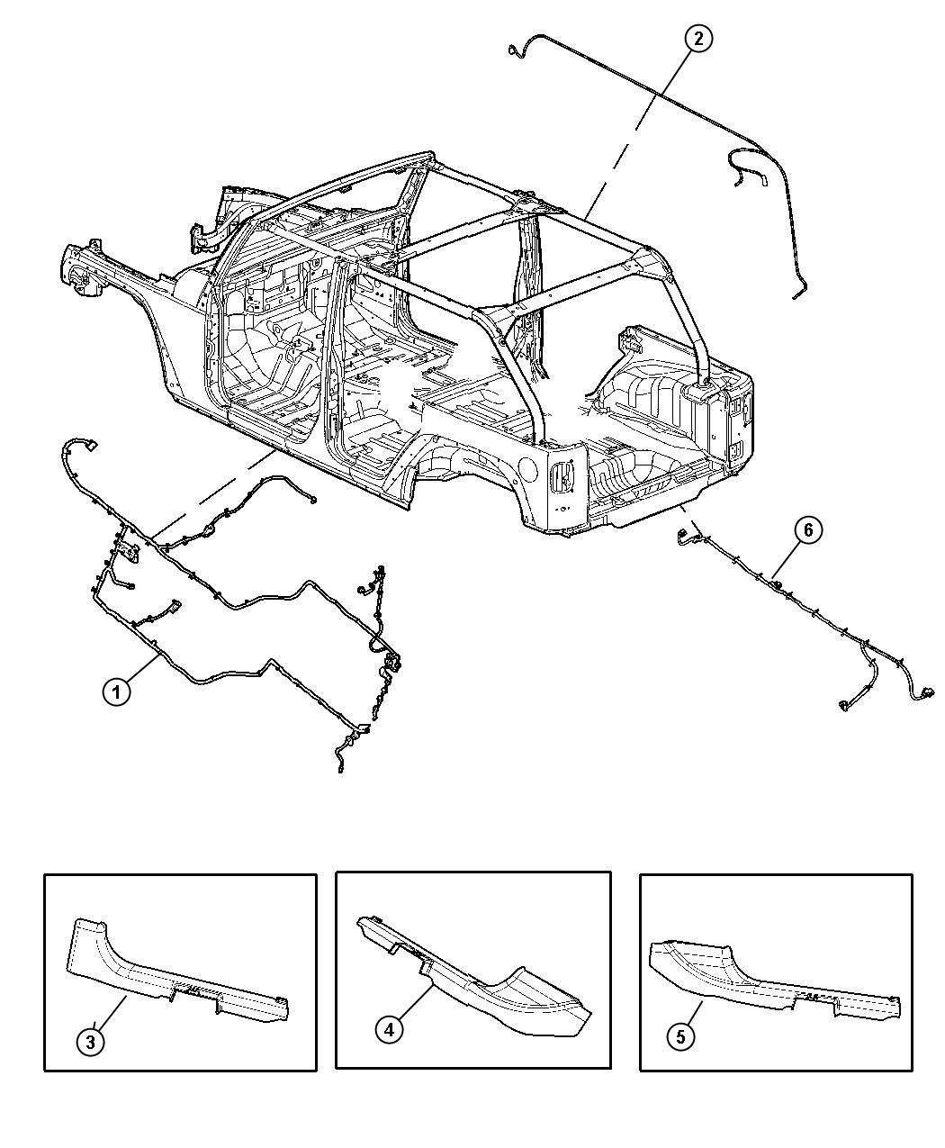 jeep wrangler wiring  body   supplemental frt seat side