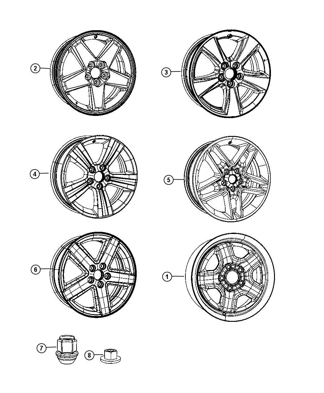 2011 dodge avenger wheel  front or rear  aluminum   wp6