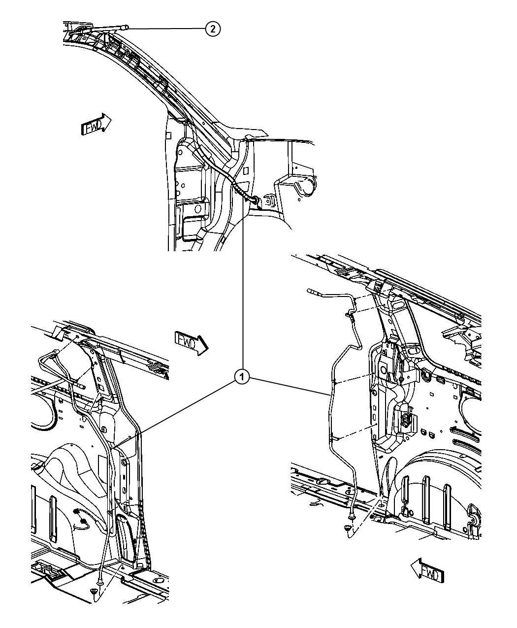2007 dodge caravan plug  right  u0026 left  shock tower hole