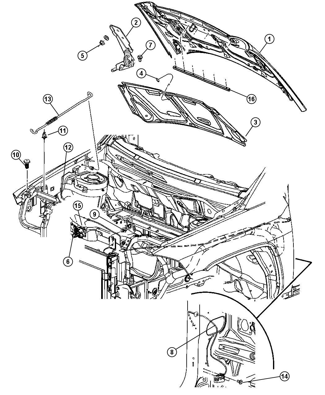 2013 Jeep Compass Engine Diagram Wiring Diagrams 2009 Hinge Left Hood Related 68086321ad