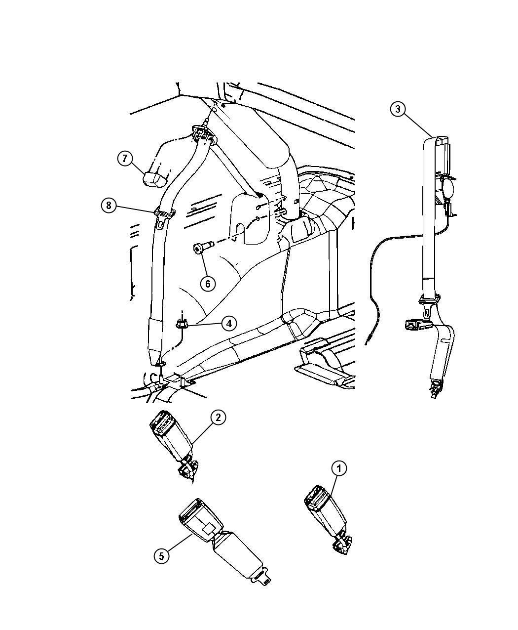 2017 jeep wrangler seat belt  right  retractor  trim    o0