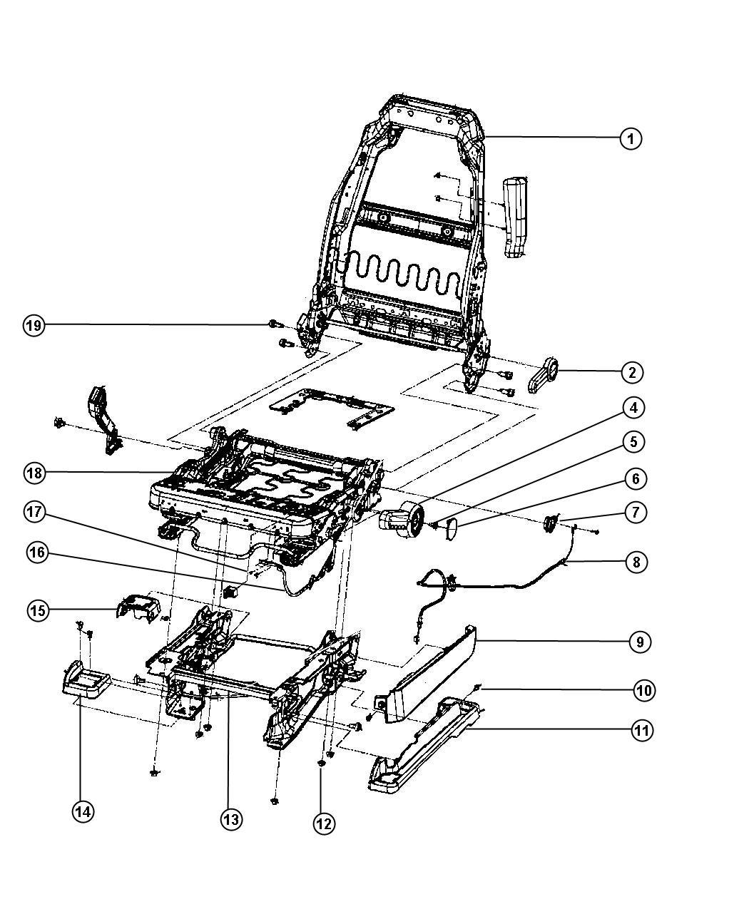 jeep wrangler frame  front seat cushion  trim    w7
