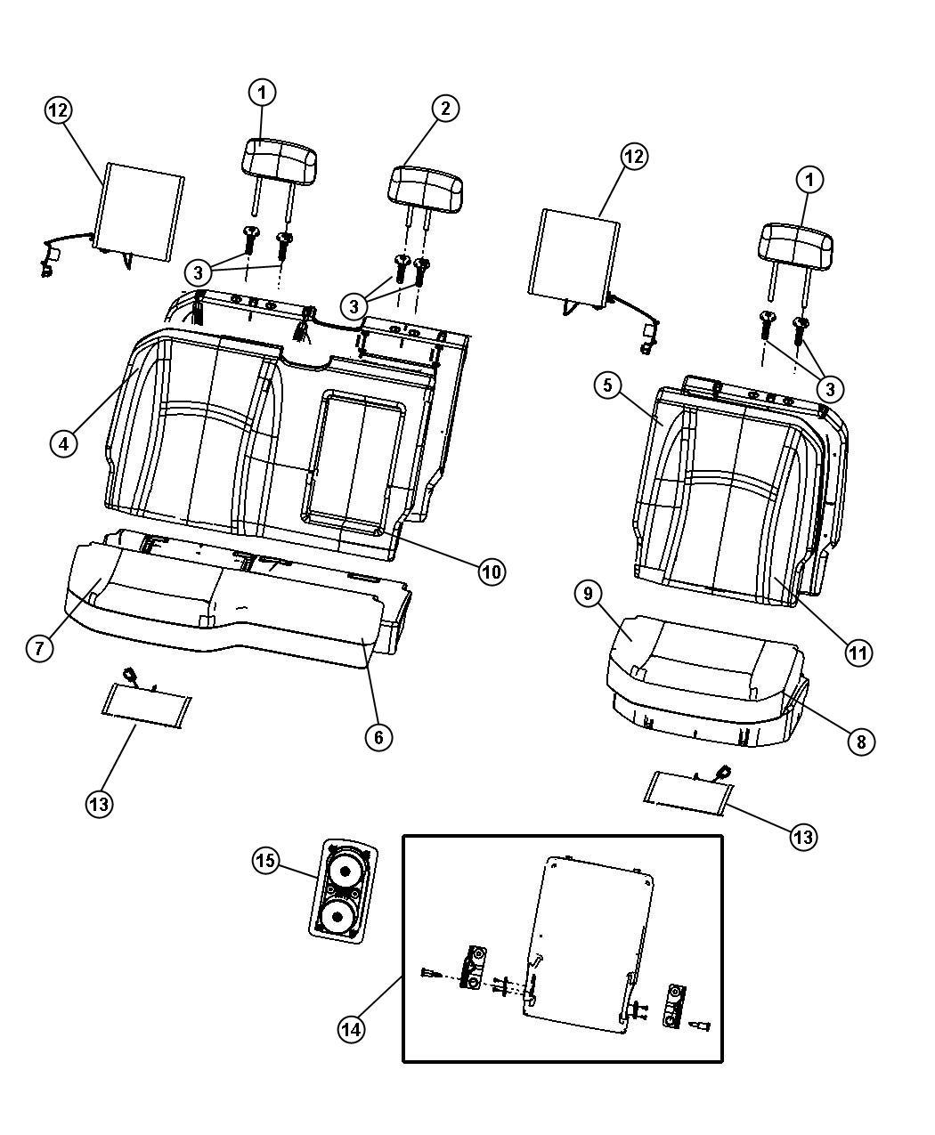 2012 dodge ram 1500 armrest  seat   de   trim    xj  color