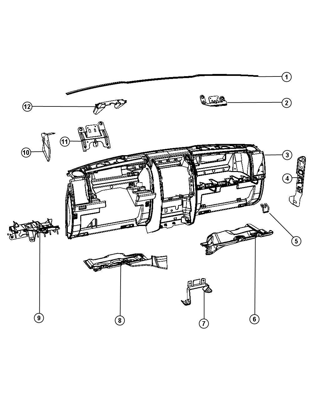 2012 Jeep Liberty Panel  Instrument Panel   Dt   Trim