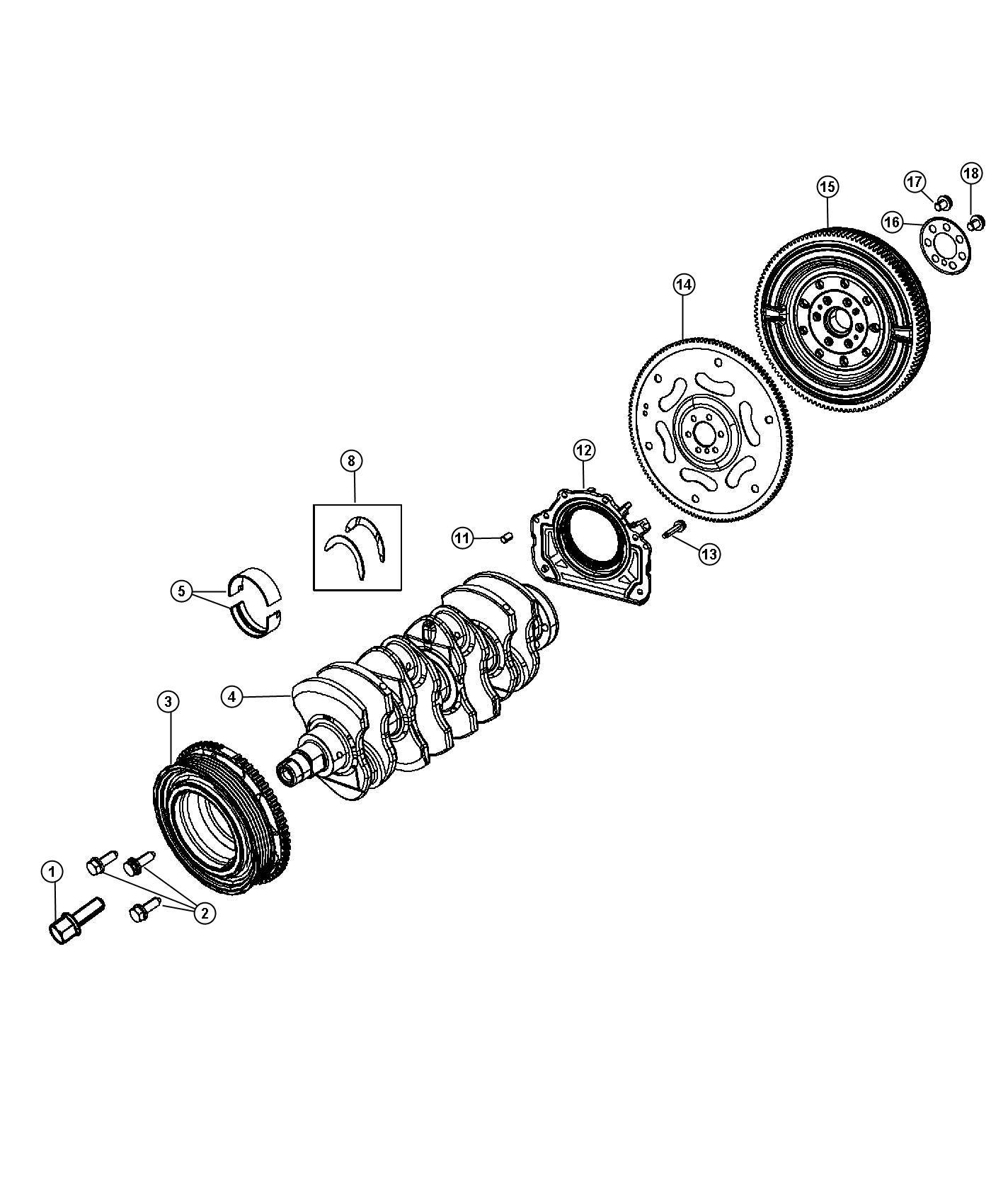 2012 fiat 500c bearing  crankshaft thrust  red  bearings  damper  flywheel
