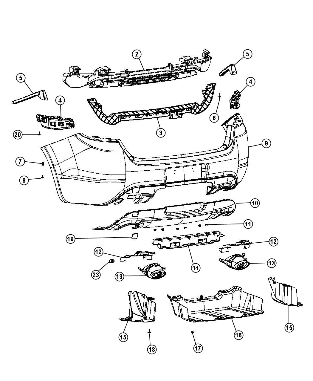2015 Dodge Dart Fascia. Rear Upper. [par], [pbh], [pcl