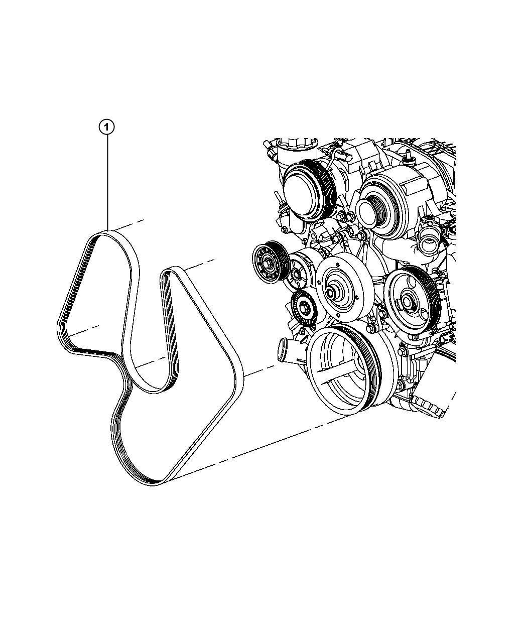 2013 Jeep Grand Cherokee Belt  Serpentine   Electro-hydraulic Power Steering