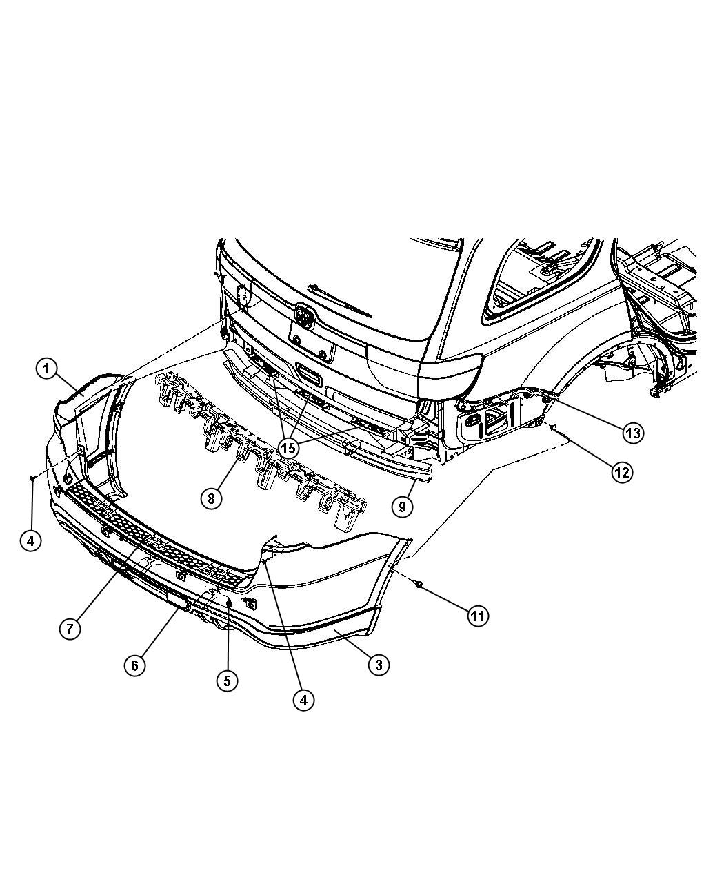 2015 dodge durango fascia  rear upper  color  tow  body