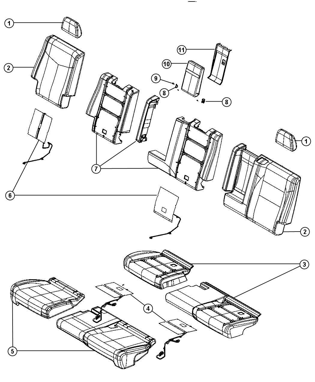 2013 Dodge Durango Cover. Rear Seat Cushion. [black/lt