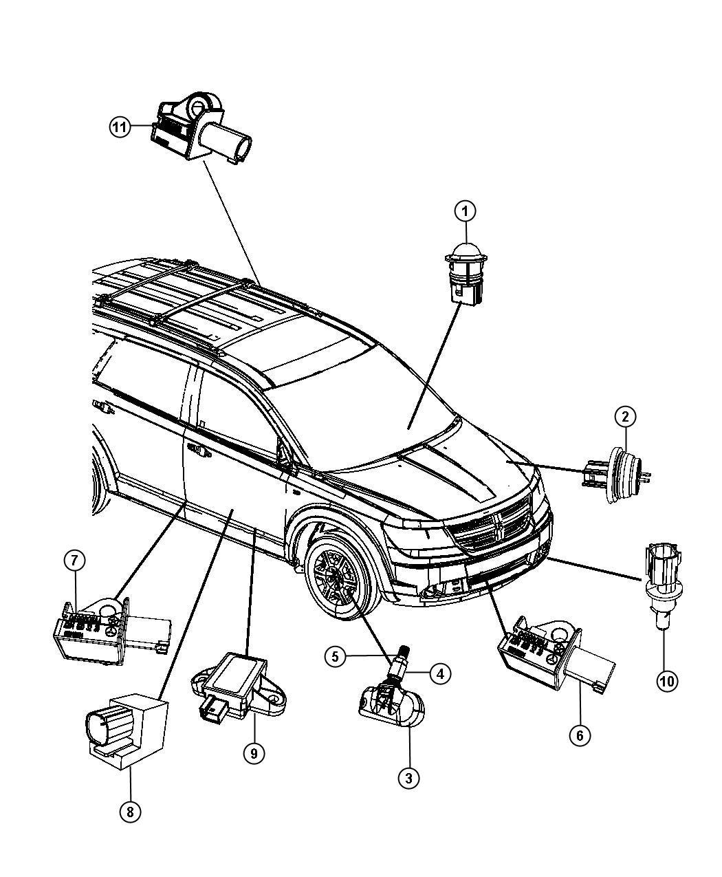 2013 dodge journey sensor  acceleration  front sensors