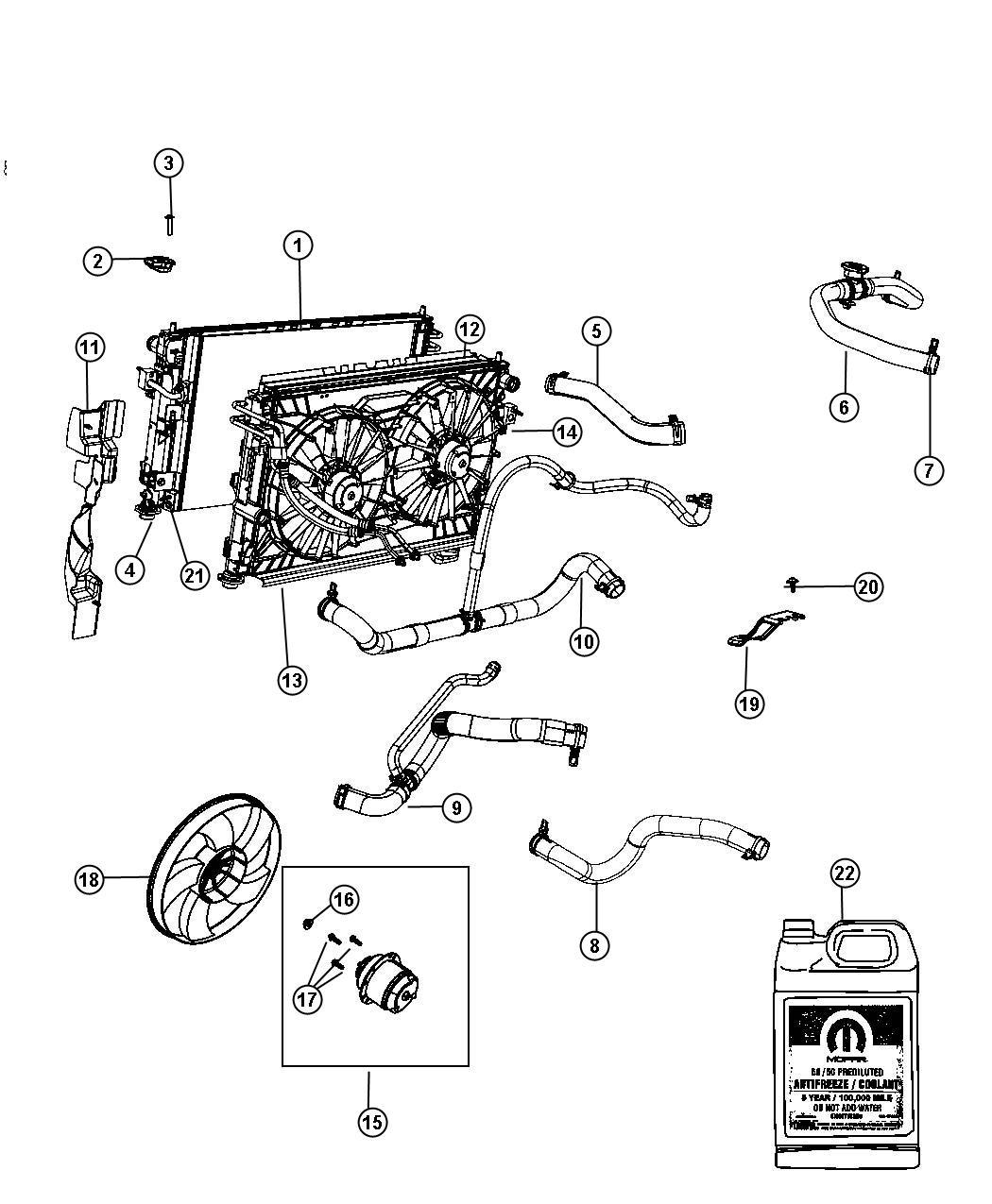 2007 chrysler sebring hose  radiator inlet   nha   cooler