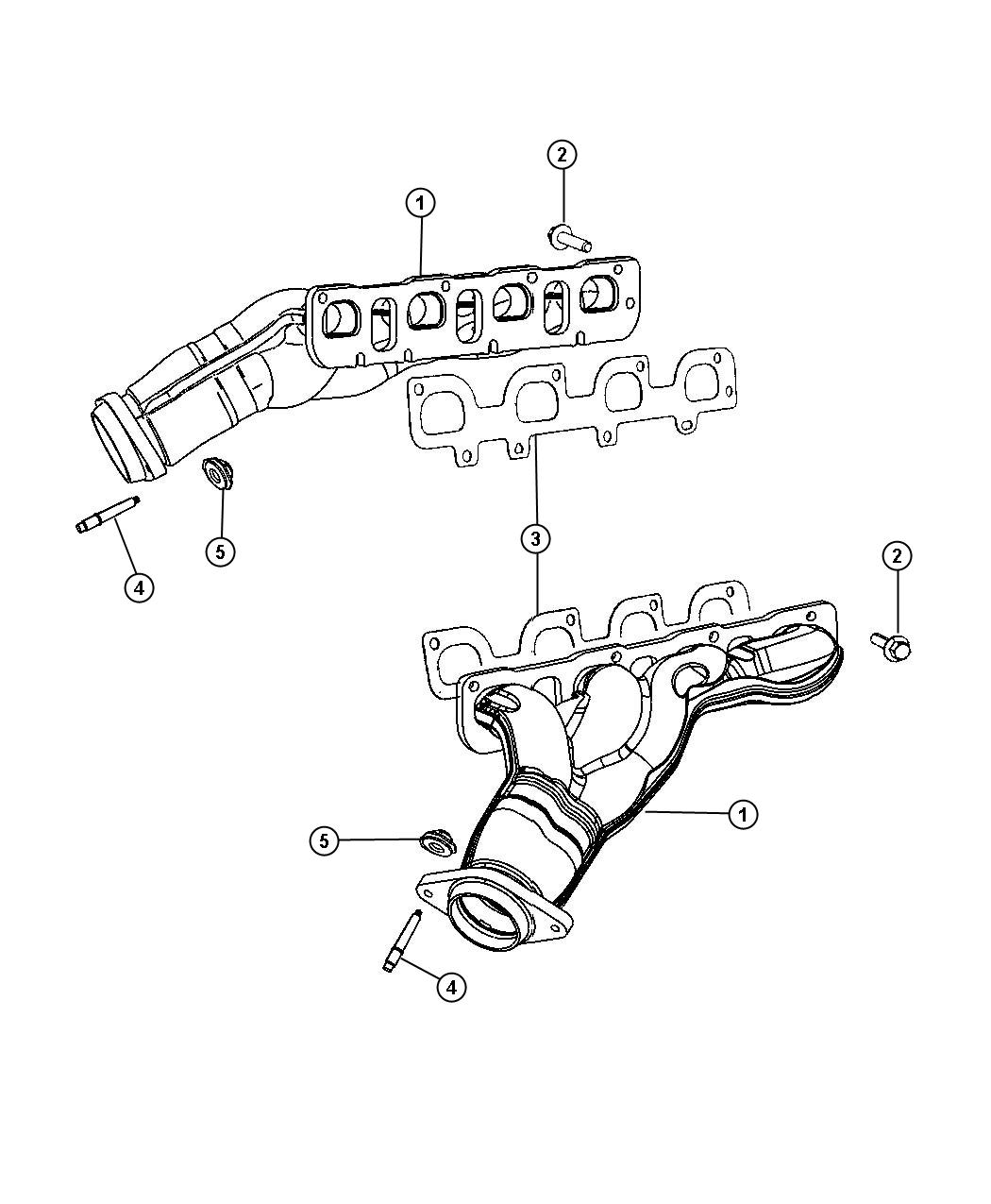 dodge grand caravan manifold  exhaust  right  right side  left hand drive