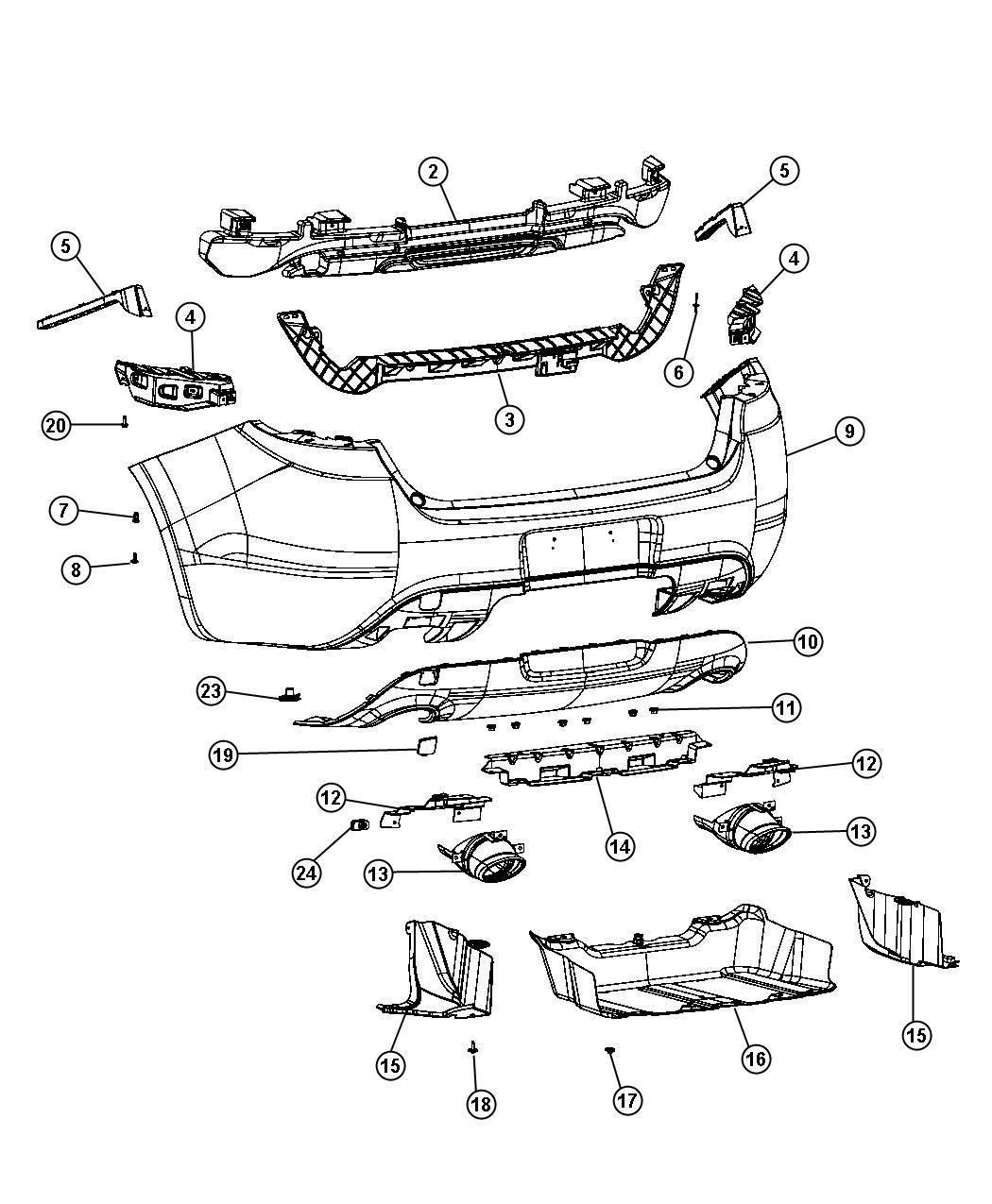 2014 Dodge Dart Fascia  Rear Upper   Par    Pbh    Pcl