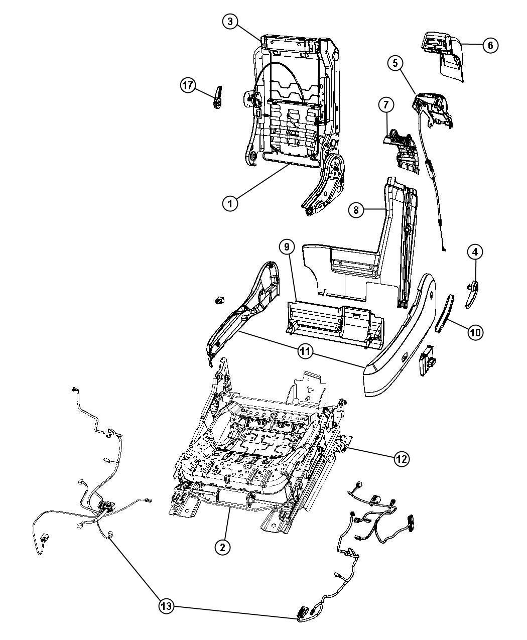 Chrysler Sebring Cable. Trim: (*n7.). Seat, Driver, Power