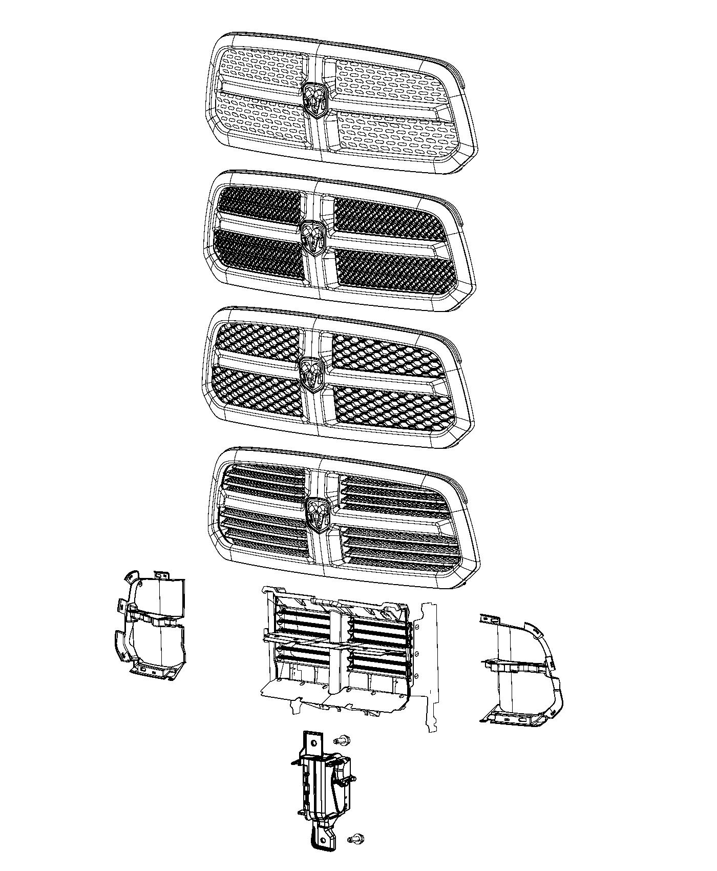 2014 ram 1500 grille  radiator  includes close out panels