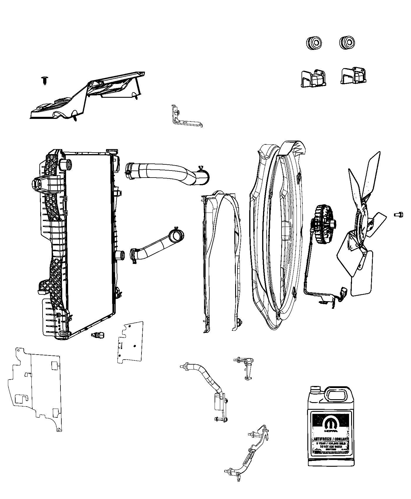 2014 ram 2500 seal  radiator upper  embossed with words