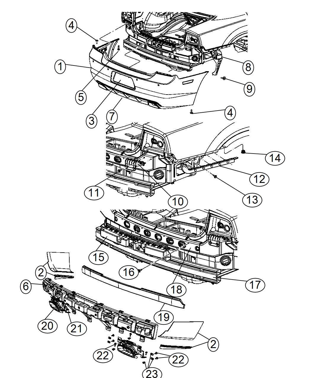 2014 dodge charger bumper diagram