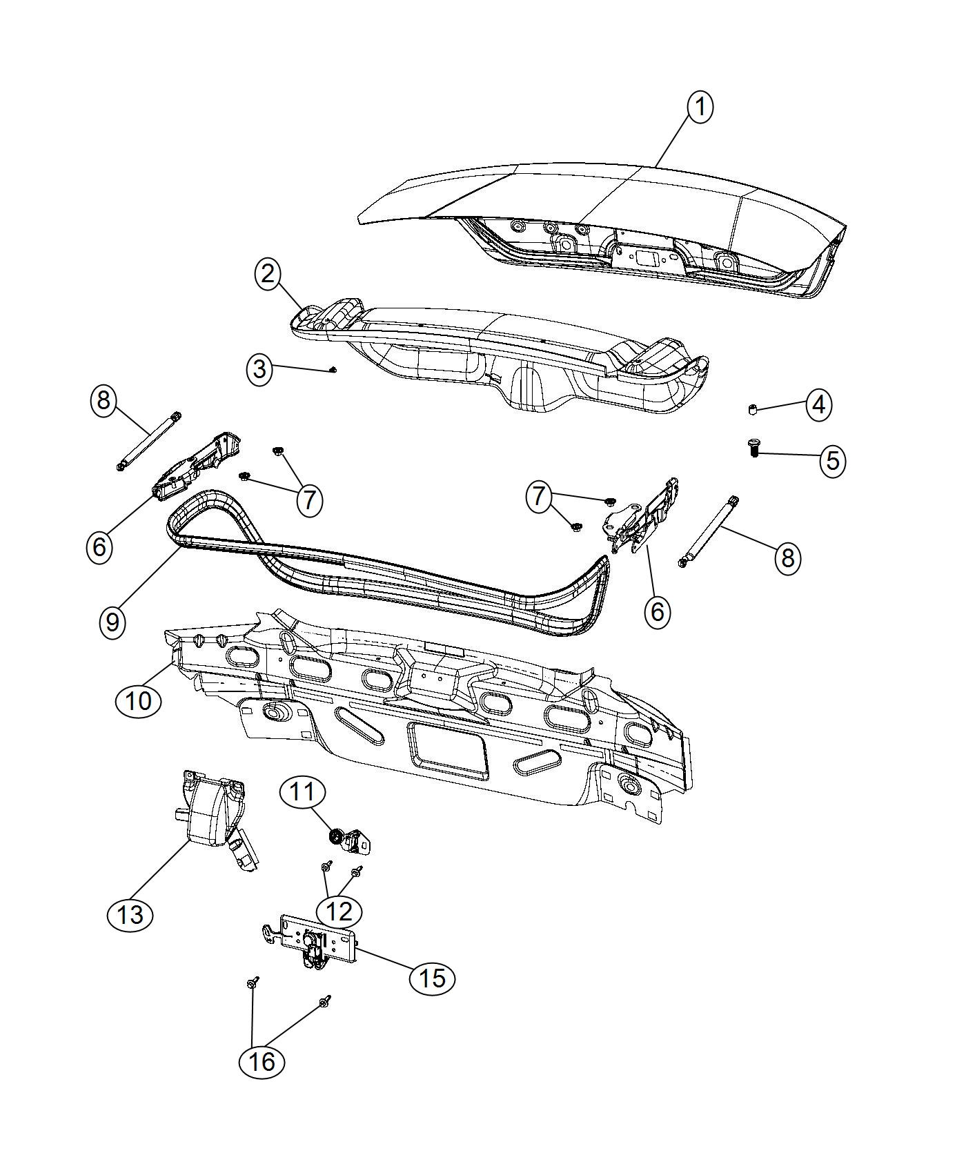 Chrysler 200 Decklid. Related, Body - 68079062AD