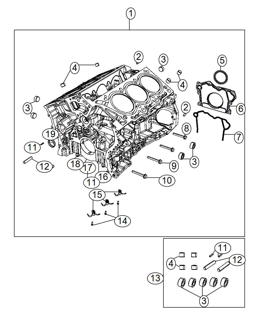 2014 Jeep Wrangler Engine Kit  Short Block