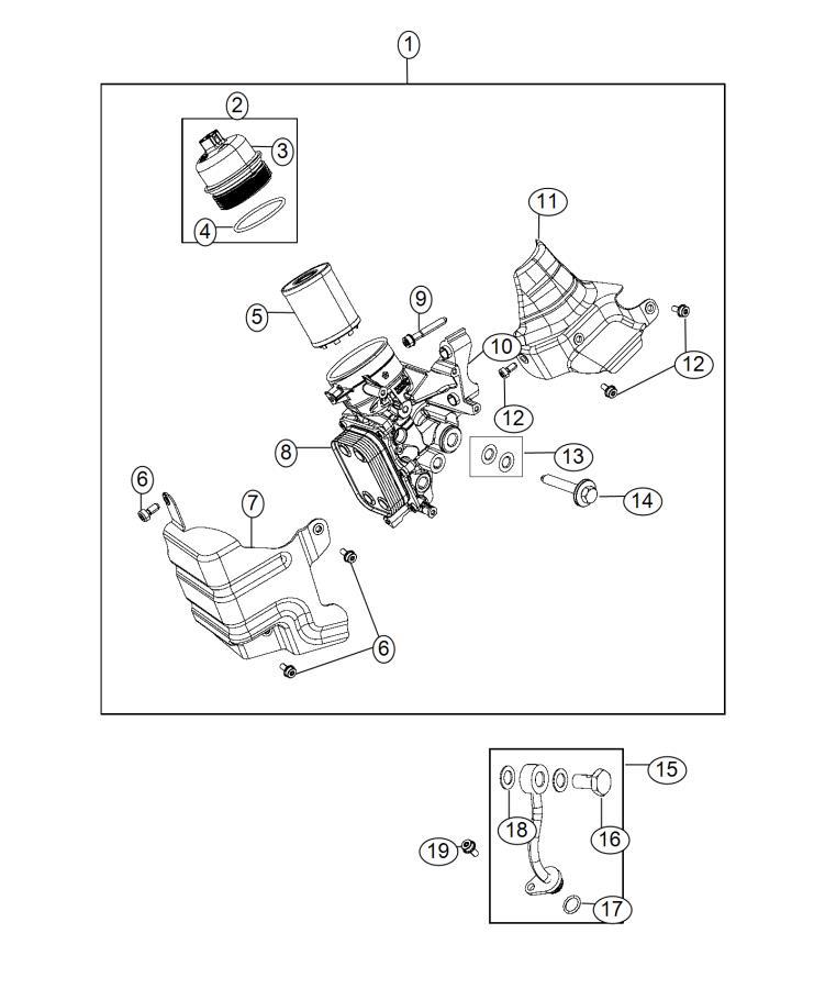 2014 Fiat 500 Filter Kit  Engine Oil  Cooler  Housing  Spd