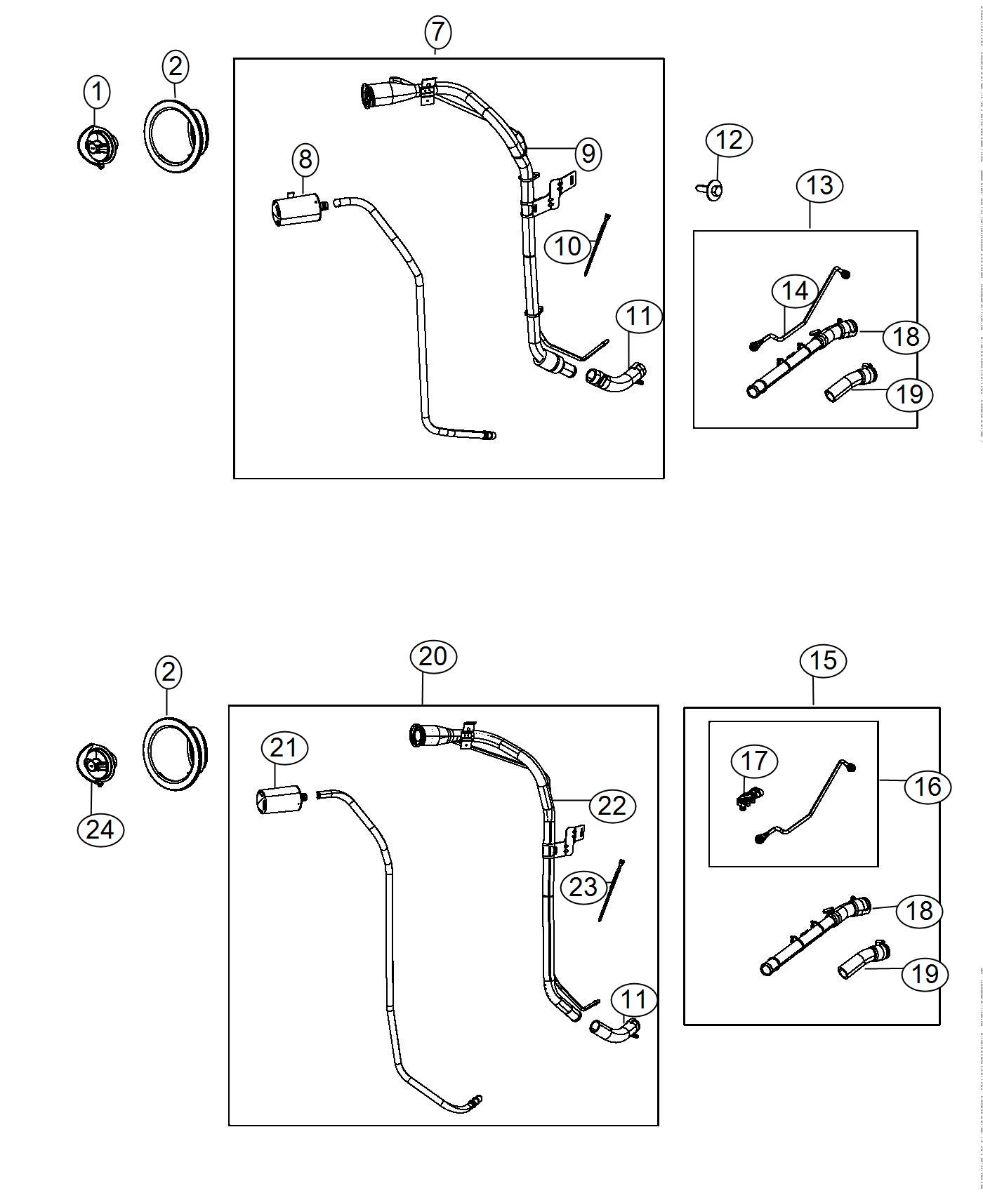 Jeep Wrangler Filter  Leak Detection Pump  Fuel  Filler