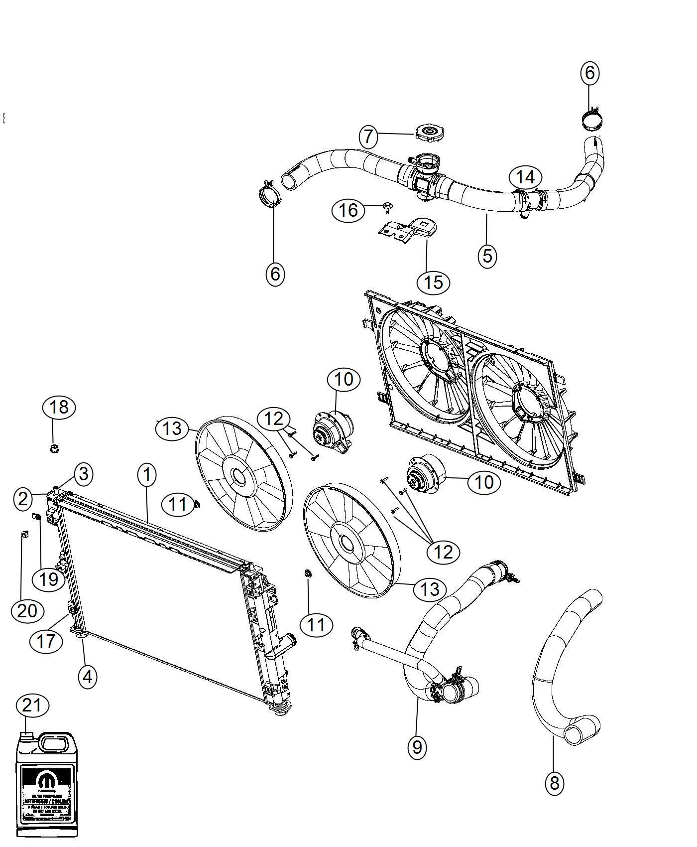 2014 Dodge Avenger Hose  Radiator Inlet   Front End Parts