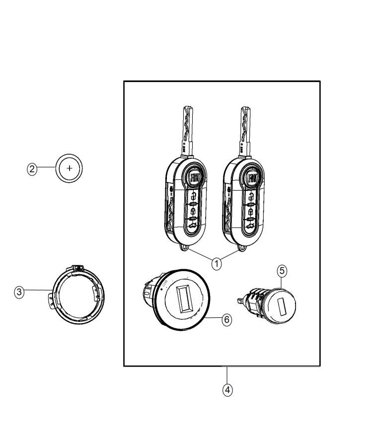 Diagram Receiver Modules, Keys, and Key FOBS. for your 2015 Fiat 500 POP HATCHBACK 1.4L I4 M/T
