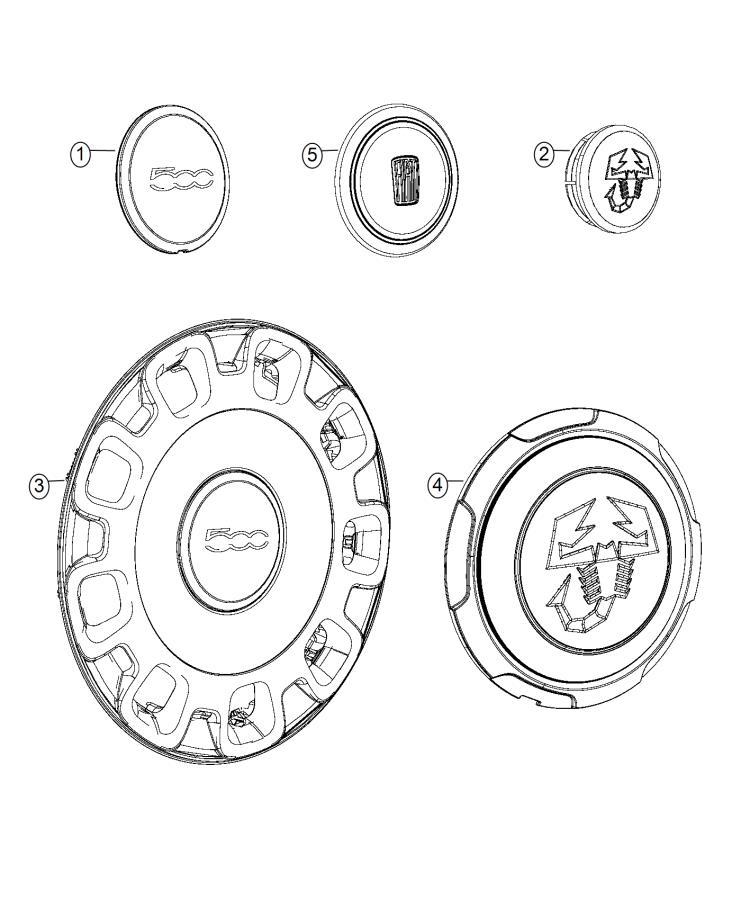 2015 fiat 500c cap  wheel center  aluminum  wheels  painted